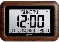 Adhome GEEMARC VISO10 Digitale kalender klok met complete dag / datum / tijdweergave - Houtlook