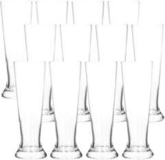 Transparante Merkloos / Sans marque 12x Bierglazen smal 370 ml - Glas voor bier 12 stuks