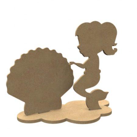 Afbeelding van Naturelkleurige Gomille MDF Figuren Zeemeermin Set 25x20 cm