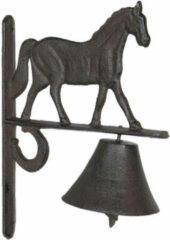 Clayre & Eef Ouderwetse Deurbel Gietijzer 6Y3027 20*11*27 cm Bruin Ijzer Rond hangende deurbel Tuinbel Buitenbel Bel met Klepel