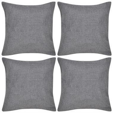 Afbeelding van Antraciet-grijze VidaXL Kussenhoezen linnen look 80 x 80 cm antraciet 4 stuks