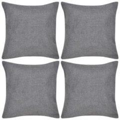 Antraciet-grijze VidaXL Kussenhoezen linnen look 80 x 80 cm antraciet 4 stuks