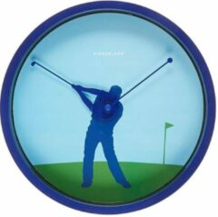 Blauwe Kikkerland Golfer 20 cm klok