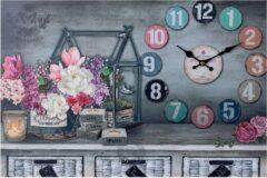 XL Canvas Schilderij Wandklok CLOCK GARDENHOUSE CANDLES & FLOWERS met Klok - Wand Klok Landelijk / Brocante - Canvasklok - Canvas Wandklokken met Klok - Keukenklok - Muurklok Wand Klok - Afm. 60 x 40 Cm - Decopatent®