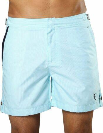 Afbeelding van Lichtblauwe Sanwin Beachwear Korte Broek en Zwembroek Heren Sanwin - Licht Blauw Tampa Stripes - Maat 32 - S/M