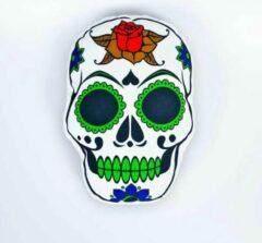 Decolenti Mexicaanse Doodskop Kussen – Sugar Skull - Dia de los Muertos - Happy Halloween – Doodshoofd Rood Groen – SierKussen - Super Zacht – Wasbaar – Decoratie – Calavera