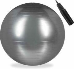 Relaxdays fitnessbal 75 cm - met pompje - gymbal - zitbal - yogabal - pilatesbal - PVC zilver