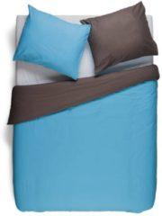 Snoozing Two Tone - Dekbedovertrek - Lits-jumeaux - 240x200/220 cm + 2 kussenslopen 60x70 cm - Turquoise/Bruin