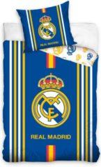 Blauwe Real Madrid CF Dekbedovertrek Real Madrid C.F. - Stripes - 140x200 + 1 Kussensloop 70x80cm
