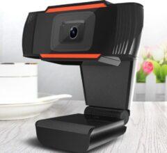 Merkloos CE Webcam 1080p - USB Webcam met Microfoon - Webcam voor PC of Laptop - 3 megapixel Draaibaar - Zwart - Ge