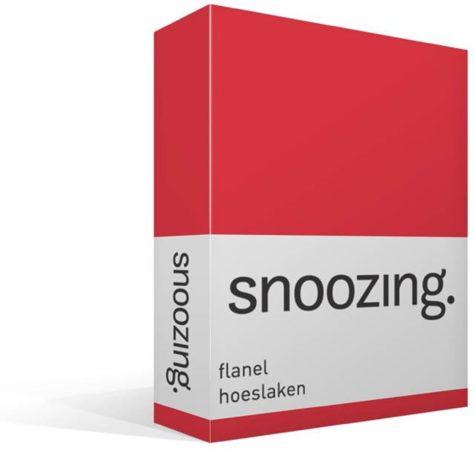 Afbeelding van Snoozing - Flanel - Hoeslaken - Eenpersoons - 80x200 cm - Rood