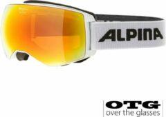 Witte Alpina Naator HM OTG Skibril | 2019 | White | DoubleFlex Hicon Mirror Lens | Categorie 2