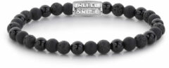 Rebel & Rose Rebel and Rose RR-60033-S Rekarmband Beads Black Rocks zwart-zilverkleurig 6 mm L 19 cm