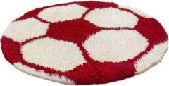Adana Carpets Rond Hoogpolig vloerkleed - Fun Rood Ø 100cm