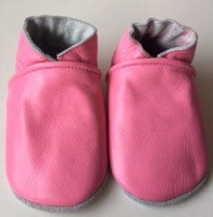 Drukkies Leren baby slofjes – roze maat L