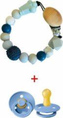 JDBOS Handig en mooi Speenkoord Kroon blauw – Unisex jongen / meisje – kralen - Inclusief BIBS speen 0 6 maanden