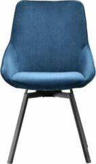 Maison Woonstore Maison´s stoel – Stoel – Stoelen – Eetkamerstoel – Eetkamerstoelen – Kuipstoel – Kuipstoelen – Blauw – Zwarte poten – Draaiende stoel – Eetkamerstoelen set van 3