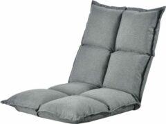 Licht-grijze En.casa Vloerstoel loungekussen verstelbaar 110x55x11 cm lichtgrijs