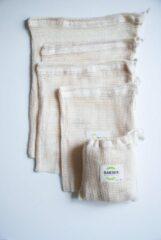Witte Sakwabag Groente & Fruit zak - Biologisch katoen - 5 stuks - Maat S, M & L