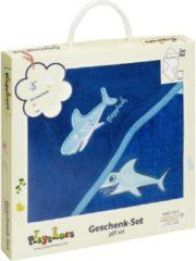 Roze Playshoes badcape cadeauset haaien blauw