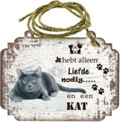 Creme witte Creatief Art Spreukenbordje Kat: Blauwe Rus