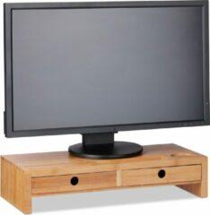 Bruine Relaxdays Monitor standaard - bamboe - monitorverhoger - beeldschermverhoger - 2 opberglad