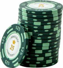 Blauwe Merkloos / Sans marque Pokerchip Monte Carlo 25 groen (25 stuks)
