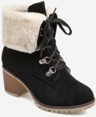Rosegal Plus Size Fuzzy Fold Over Lacing Snow Boots