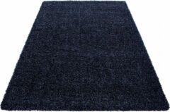 Marineblauwe Himalaya Basic Shaggy vloerkleed Donker Blauw Hoogpolig - 80x150 CM