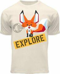 Gebroken-witte Fox Originals Kids Vesper Explore Fox Originals Kids Unisex T-shirt Maat 92