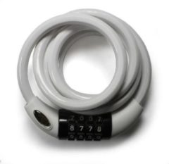 Witte Squire Cable lock white, combinatie fietsslot 1.8m
