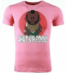 Roze T-shirt Korte Mouw Mascherano T-shirt - A-team Mr.T Shut Up Fool Print