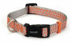 Oranje Beeztees - Nylon halsband zilver met orange Triangle - 48-70cm