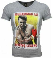 Grijze T-shirt Korte Mouw Mascherano T-shirt - Muhammad Ali Zegel Print