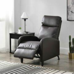 En.casa Verstelbare relaxfauteuil 102x60x92 cm kunstleer bruin
