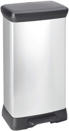Afbeelding van Zilveren Curver Decobin pedaalemmer 50 liter zilver metallic / zwart in full color box