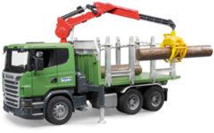 Bruder 03524 - Scania R-Serie houttransport vrachtwagen met laadkraan, grijper en drie boomstammen