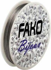 Grijze Fako Bijoux® - Staaldraad - Nylon Gecoat - Sieraden Maken - 0.5mm - 30 Meter
