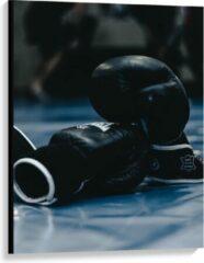 Blauwe KuijsFotoprint Canvas - Zwarte Bokshandschoenen - 75x100cm Foto op Canvas Schilderij (Wanddecoratie op Canvas)