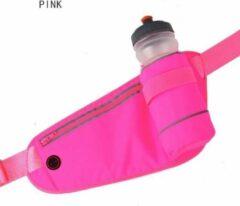 BHK Heupband Running belts, waterdichte heuptas met drinkwatergordel, verstelbare sportriemtas voor hardlopen en wandelen - roze