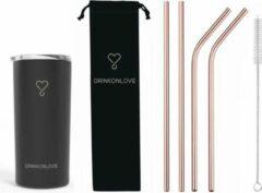 Roze Drink on love RUSH BLACK - Drinkbeker met rvs rietjes- Zwart- Rosé goud- 470ml - rietjes 21.5cm