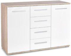 FD Furniture Dressoir Lima 116 cm breed in sonoma eiken met hoogglans wit