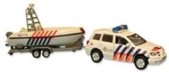 2-Play politiewagen met boot pull-back 27 cm wit