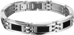 Zilveren The Jewelry Collection For Men Armband Rubber 11,5 mm 21,5 cm - Staal