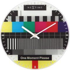 NeXtime Little Testpage - Tafel Klok - Stil Uurwerk - Testbeeld - Rond - Glas - Ø20 cm - Multicolor
