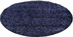 Decor24-AY Hoogpolig vloerkleed Life - marineblauw - rond - O 200 cm