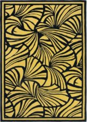 Florence Broadhurst - Japanese Fans 39305 Vloerkleed - 200x280 cm - Rechthoekig - Laagpolig Tapijt - Retro - Geel, Zwart