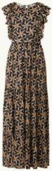 Scotch & Soda maxi jurk met all over print en ruches donkerblauw/ beige