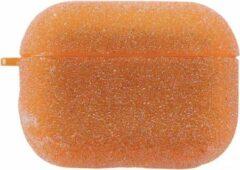 Greenz products Airpods Pro Case Cover - Glitters Neon Oranje - Beschermhoes - Bescherm Etui inclusief karabijnhaak - Geschikt voor Apple Airpods Pro
