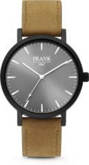 Frank 1967 Watches 7FW 0016 Stalen Horloge met Leren Band - Ø42 mm - Grijs / Bruin